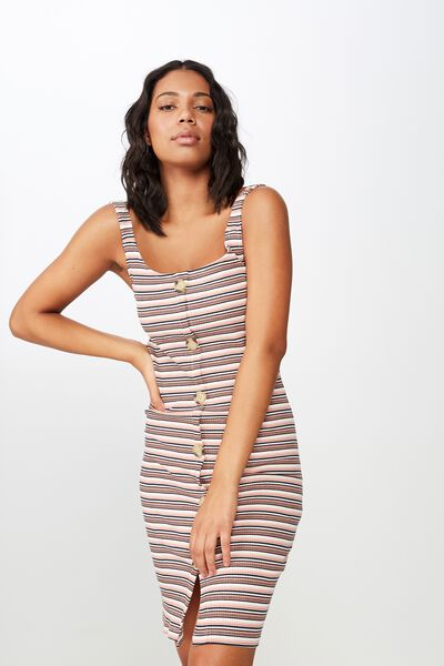 Lola Ribbed Button Through Midi Dress, WILLOW STRIPE ROSE TAN SUNBURN