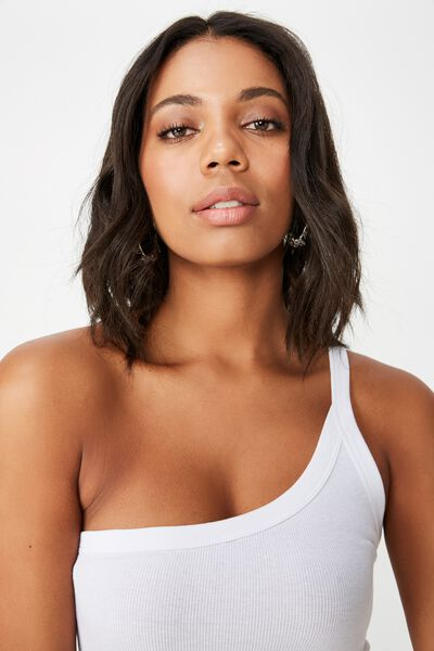 Alex One Shoulder Strappy Cami, WHITE