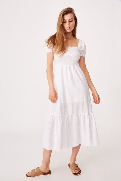 Woven Louise Shirred Maxi Dress, WHITE GINGHAM