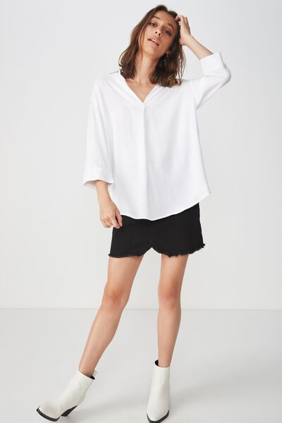 Lexie Popover Shirt, WHITE