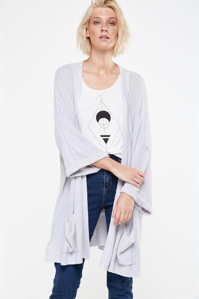 Ella Kimono Sleeve Ete Cardigan, GREYS TWIST