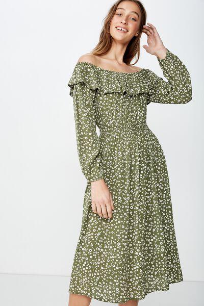 Woven Wella Off The Shoulder Midi Dress, EMMA DAISY WINTER MOSS