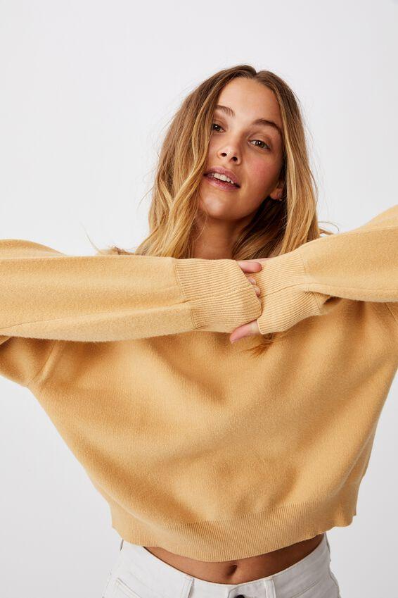 Chloe Crew Luxe Pullover, MOUNTAIN GREEN