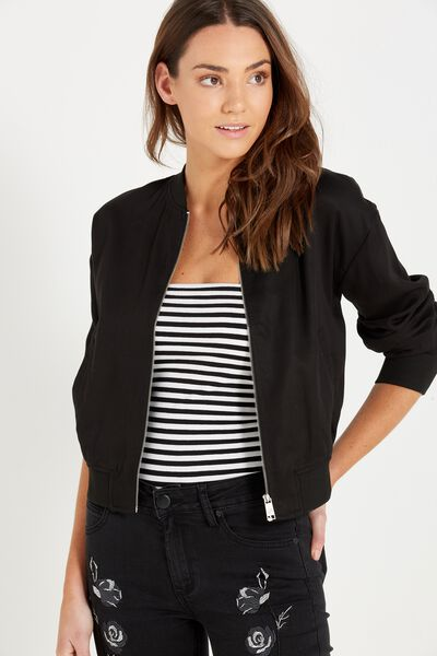 Becky Blouson Bomber Jacket, BLACK