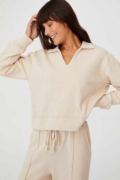 Kora Collared L/S Pullover, STONE