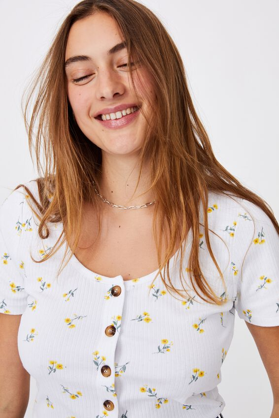 Leni Button Through Short Sleeve Top, ELLIE DITSY YELLOW