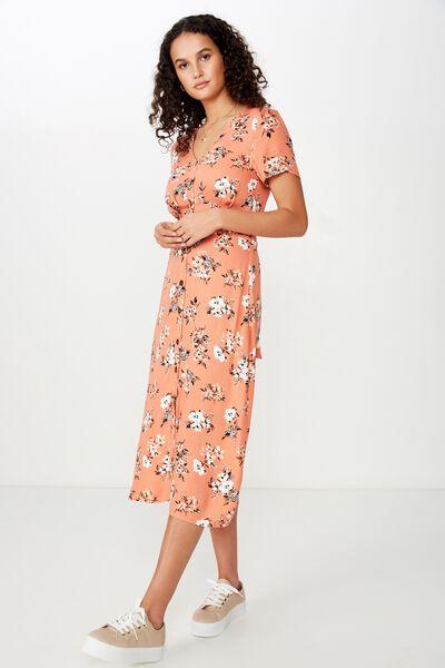 Woven Cherry Button Front S/S Midi Dress, KARLA FLORAL APRICOT BRANDY