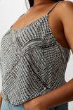Curve Astrid Cropped Scoop Neck Cami, BLILLIE SPLICED GEO BLACK