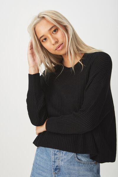 Archy Cropped Pullover, BLACK