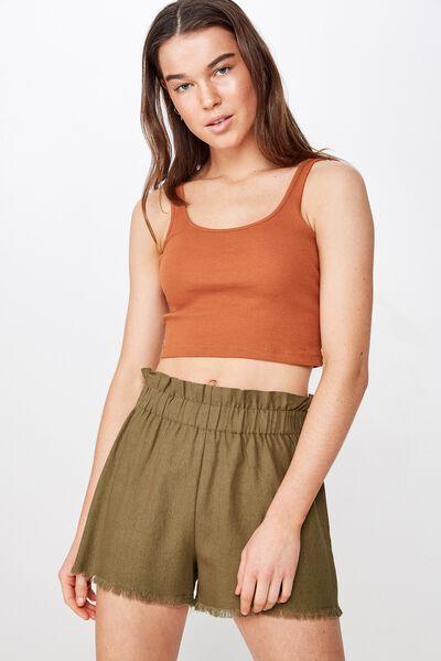 Mila Paperbag Short, WINTER MOSS