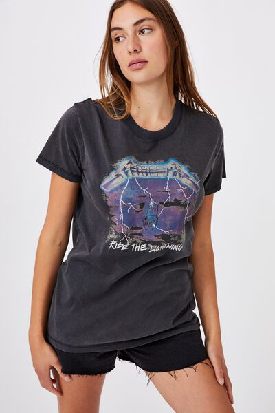 Classic Metallica T Shirt, LCN PRO METALLICA RIDE THE LIGHTNING/BLACK