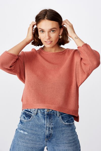 Summer Step Hem Pullover, CANYON ROSE