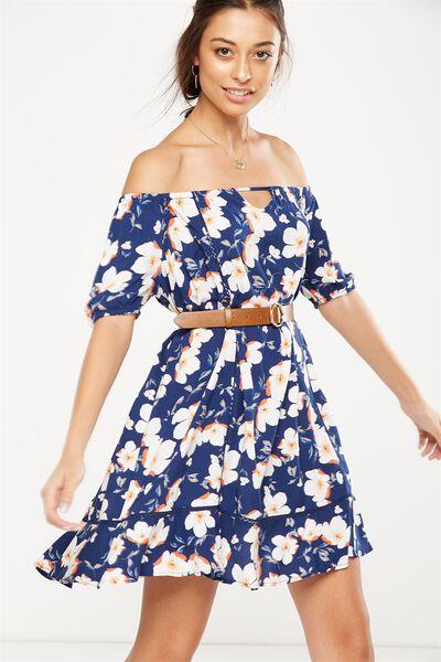 Woven Jenny Off The Shoulder Mini Dress, LANA FLORAL BLUE DEPTHS