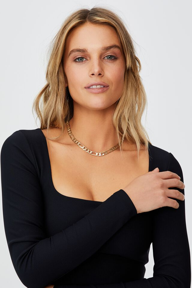 Quinn Square Neck Long Sleeve Top, BLACK