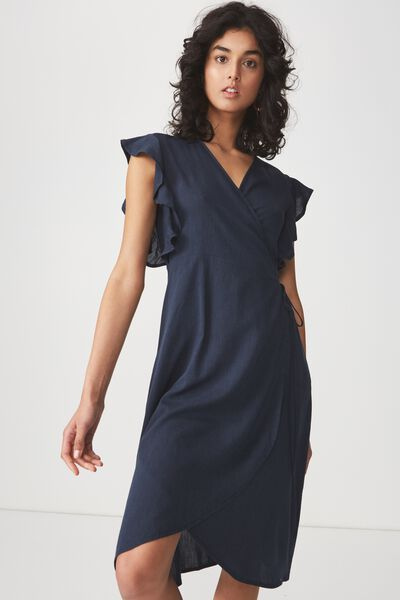 Woven Winnie Wrap Hi Low Dress, NAVY