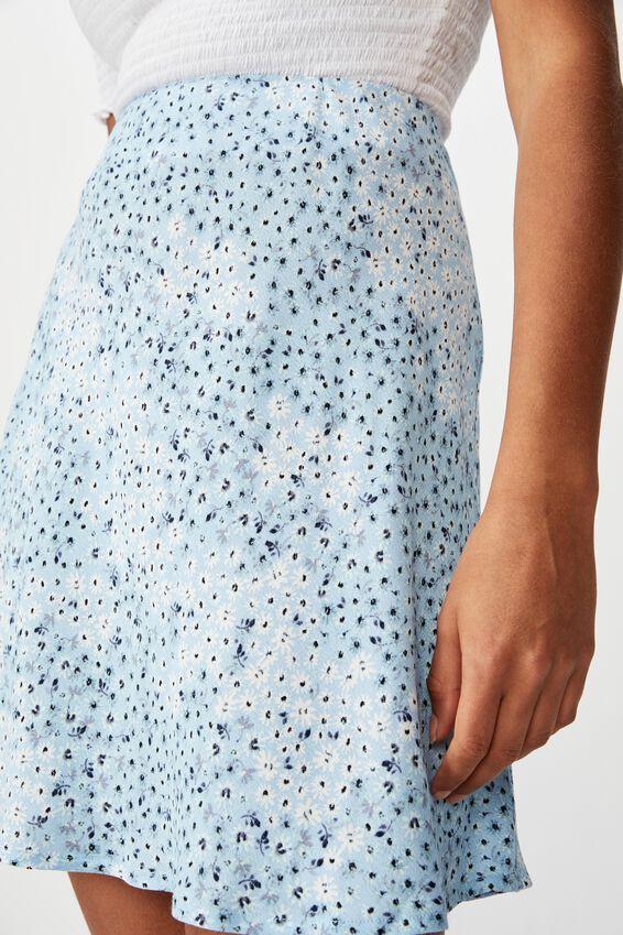 True Bias Mini Skirt, MANDY MULTI DITSY CERULEAN