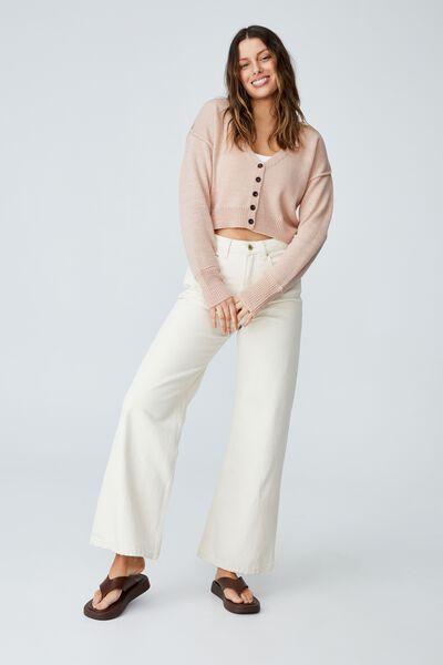 Australian Wool Blend Cardigan, PALE PINK