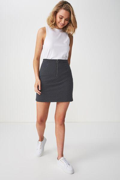 Gwen Zip Mini Skirt, RENE SPOT DARK SAPPHIRE