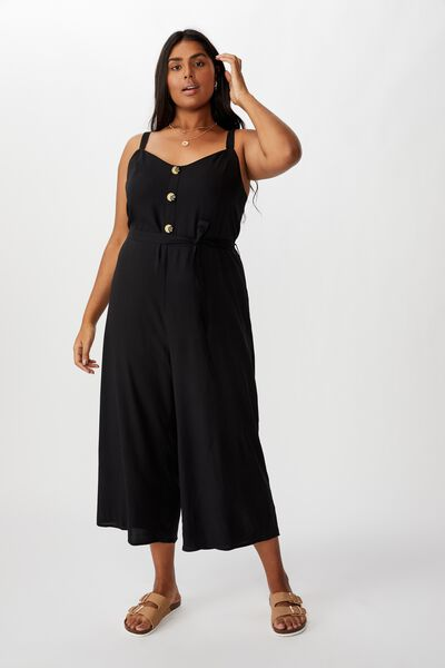 Curve Elle Strappy Jumpsuit, BLACK