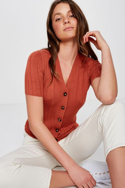 Quinnie Half Sleeve Button Through Cardi, BRUSCHETTA MARLE