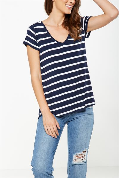 Keira Short Sleeve V-Neck T Shirt, EMERSON STRIPE NAVY BASE/WHITE