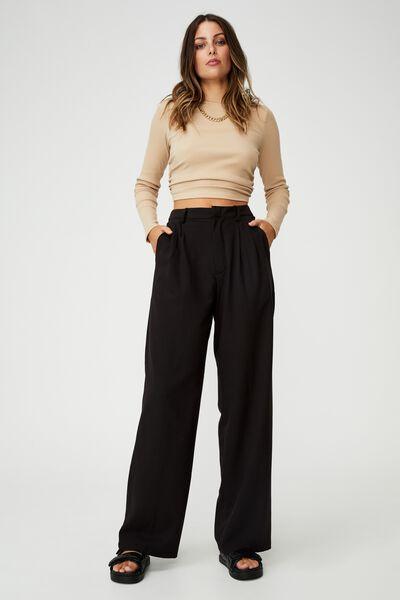Jordan Oversized Pleat Pant, BLACK