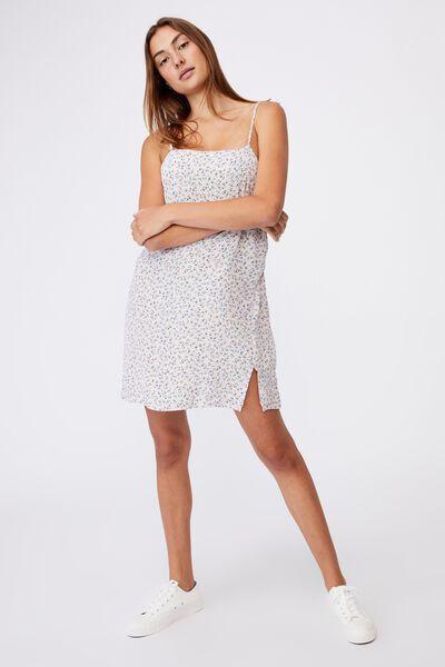 Woven Kye Strappy Mini Dress, HILDA DITSY FROSTY LILAC