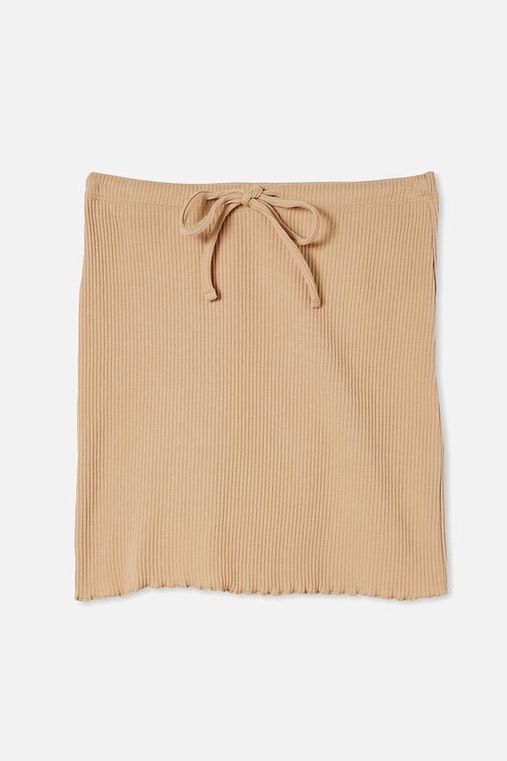 Streamline Ribbed Mini Skirt, WARM STONE
