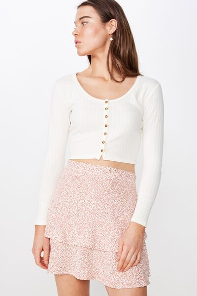 Woven Demi Frill Mini Skirt, ISSY DITSY DUSTY ROSE