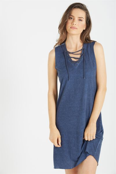 Urban Lace Up Sleeveless Midi Dress, NAVY ACID WASH