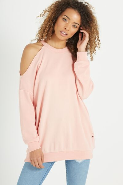 Clancy Cold Shoulder Sweater, SALMON WASH