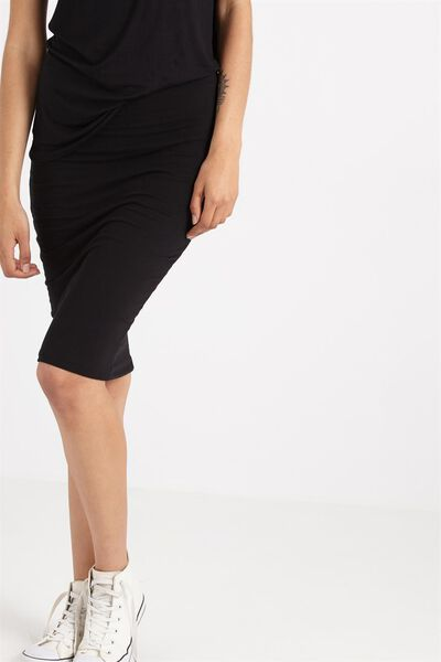 Midi Tube Skirt, BLACK