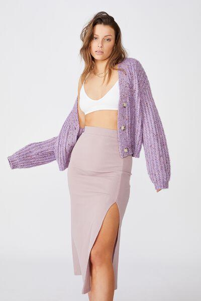 Bella Rib Midi Skirt, LILAC