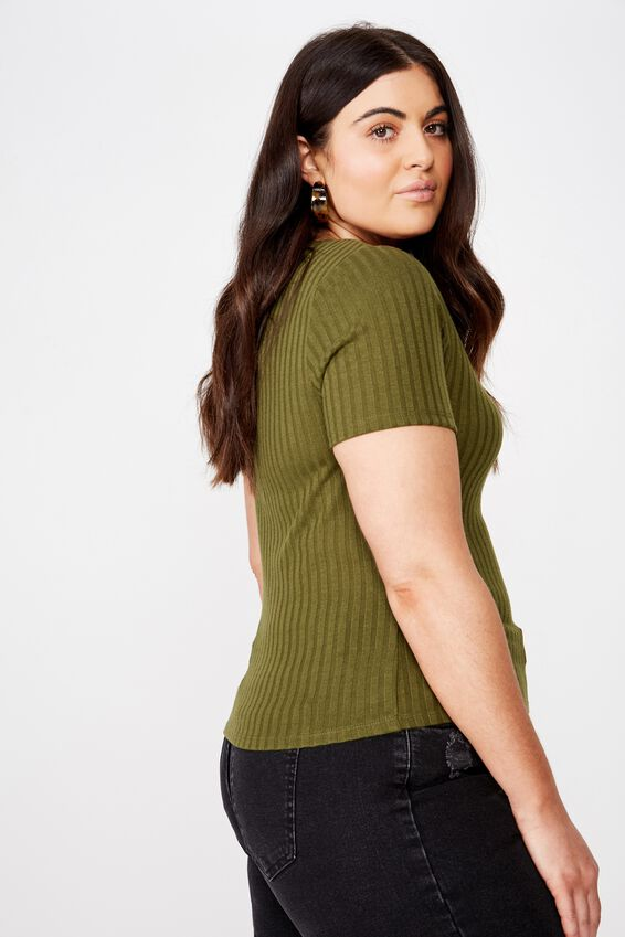 Curve Bethany Textured Scoop Tee, WINTER MOSS