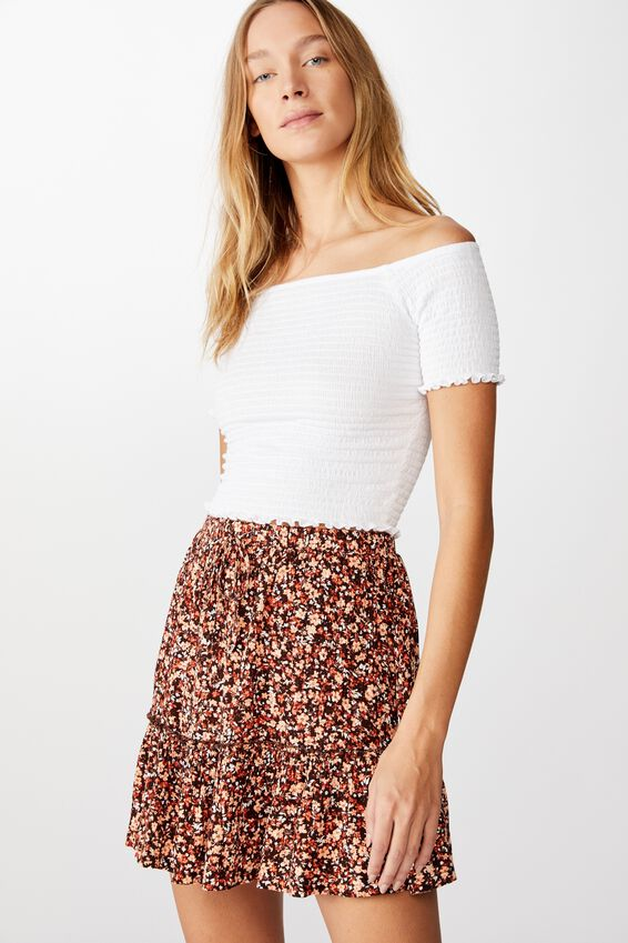 Penny Tiered Mini Skirt, BRONTE DITSY CANYON SUNSET
