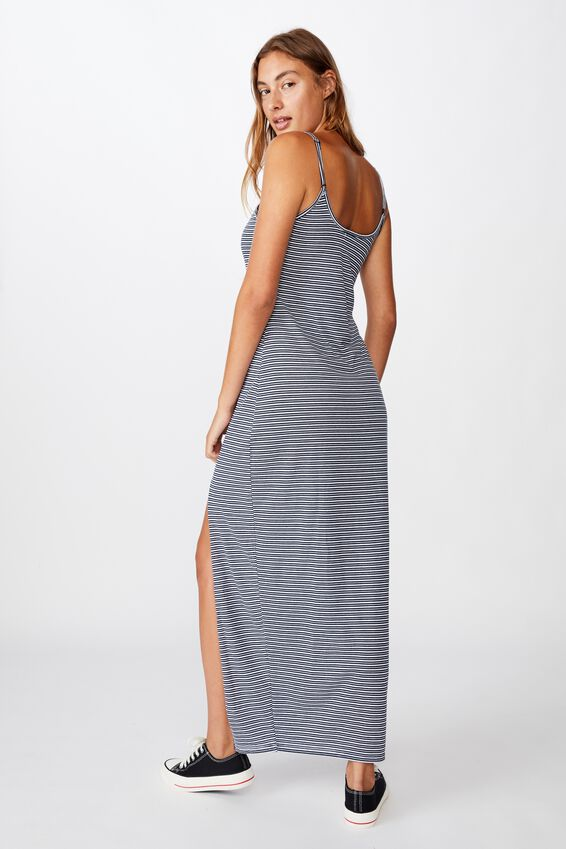 Alessandra Strappy Split Front Midi Dress, MINI MOLLY STRIPE TOTAL ECLIPSE