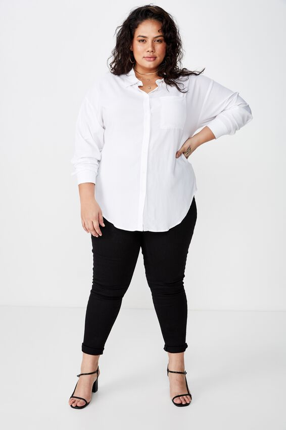 Curve Relaxed Shirt, WHITE