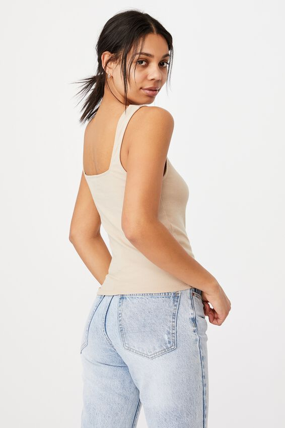 Sloane Square Neck Tank, LATTE
