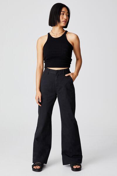 Petite Parker Long Straight Pant, BLACK