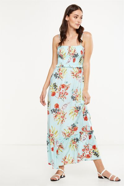 Woven Miranda Shirred Strappy Maxi Dress, MISSY FLORAL FAIR AQUA