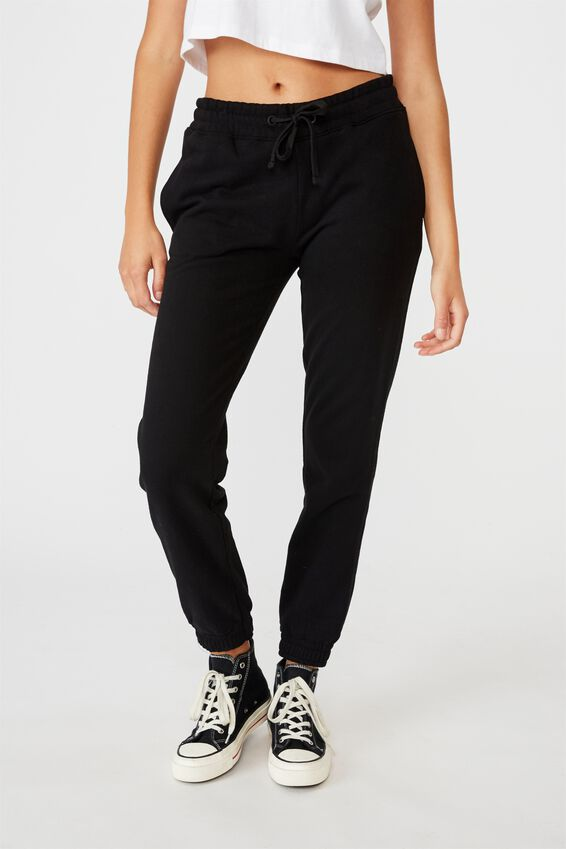 Slim Fit Trackpant, BLACK