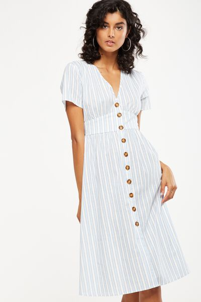 Woven Gigi Button Through Midi Dress, BLUE HAZE/WHITE MARTHA STRIPE