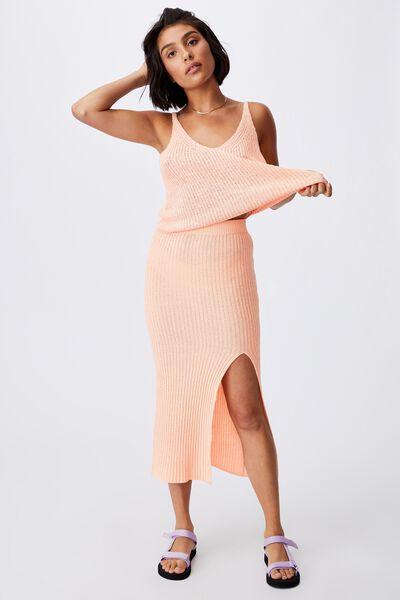 Match Me Knit Midi Skirt, MANGO SORBET
