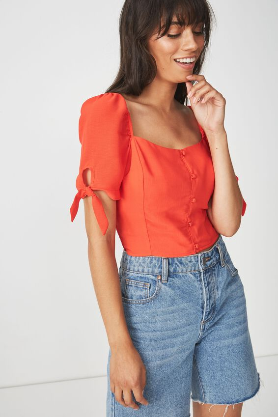 Perrie Square Neck Blouse, CHERRY RED