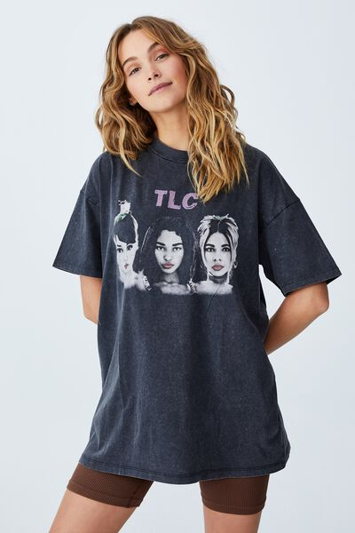 The Relaxed Boyfriend Graphic Tee, LCN MT TLC BAND PHOTO/BLACK