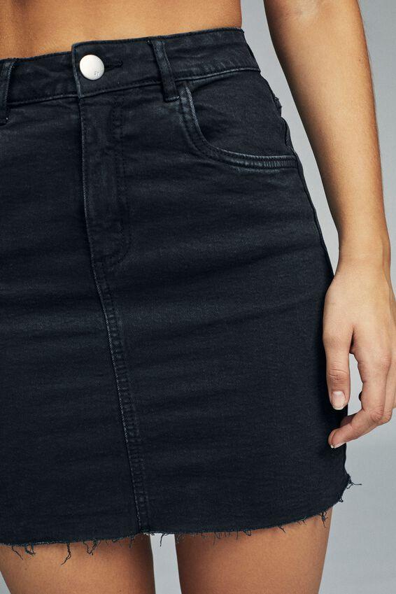 Classic Stretch Denim Mini Skirt, WASHED BLACK