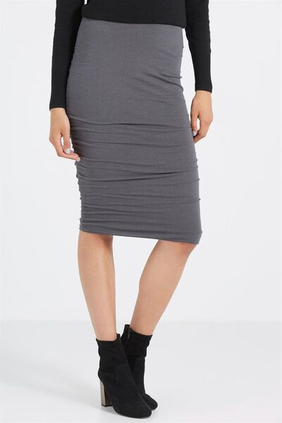 Luxe Rouched Midi Skirt, DEEPEST GREY