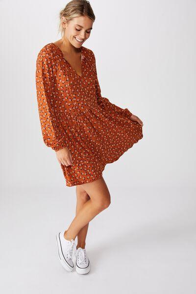 Larissa Baby Doll Mini Dress, AIDAN DITSY AMBER BROWN