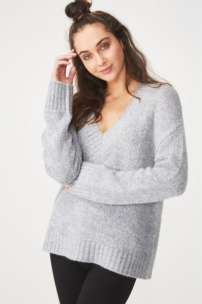 Relaxed V Neck Pullover, GREY MARLE