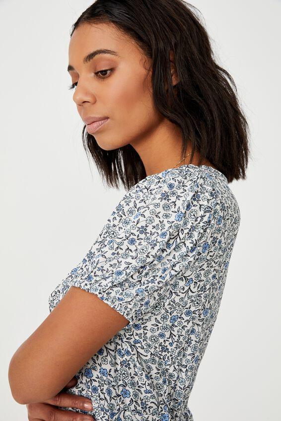 Woven Essential Tie Back Mini Tea Dress, MISHAY DITSY DAISY BLUE